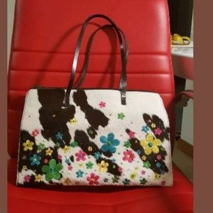 Moschino Limited Edition Pony Hair Floral Purse